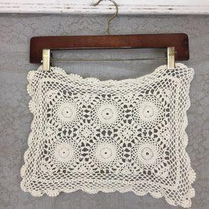 4/$25 Vintage Rectangular Crochet Cream Doiley